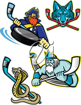 Mascot icon illustration set of ice hockey sports mascots such as Swashbuckler or Pirate, Gray Wolf or coyote, Poseidon or Neptune and a king cobra or hamadryad on isolated background in retro style.