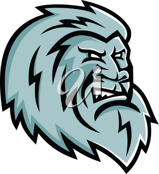 Mascot icon illustration of head of a Yeti or Abominable Snowman, an ape-like entity, mythical or legendary creature in the folklore of Nepal viewed from side on isolated background in retro style.