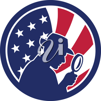 Icon retro style illustration of an American private investigator silhouette with magnifying glass with United States of America USA star spangled banner or stars and stripes flag inside circle.