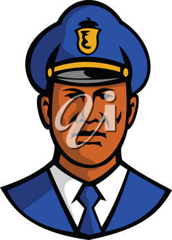 Mascot illustration of bust of a black African American policeman or police officer wearing hat viewed from front on isolated white background done in retro style.