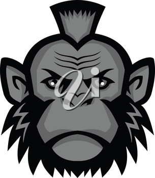 Mascot icon illustration of head of a chimpanzee wearing a mohawk hairstyle or haircut viewed from front on isolated background in retro style.