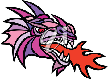 Mascot icon illustration of head of a mythical dragon breathing fire viewed from side on isolated background in mosaic style done in color.