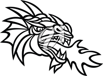 Mascot icon illustration of head of a mythical dragon breathing fire viewed from side on isolated background in retro style done in black and white.