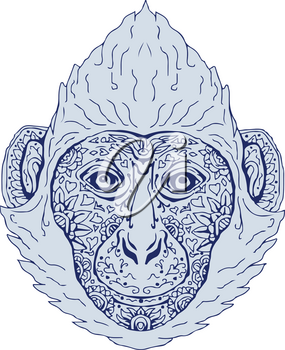 Illustration of a Cat Ba langur Head viewed front done in hand sketch drawing Mandala style.