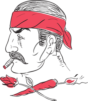 Drawing sketch style illustration of a Mexican guy smoking cigar wearing bandana with scar of face with crossed hot chili with burning fuse and rose flower.