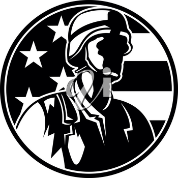 Black and White Illustration of an American soldier military serviceman or veteran looking to side with USA stars and stripes in the background during Memorial Day set inside circle done in retro style.