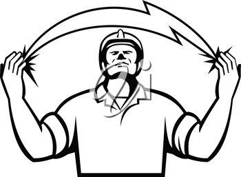 Black and White Illustration of an electrician looking up and hands raised with lightning bolt coming out from hands viewed from the front set on isolated white background done in retro style.