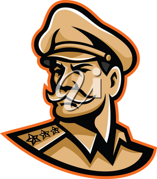 Mascot icon illustration of head of an American three-star general wearing a peaked cap looking forward viewed from side on isolated background in retro style.