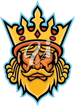Mascot icon illustration of head of a King, a male monarch wearing a heraldic crown viewed from front on isolated background in retro style.