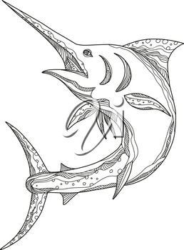 Doodle art illustration of an Atlantic blue marlin,  a species of marlin endemic to the Atlantic Ocean jumping done in mandala style.