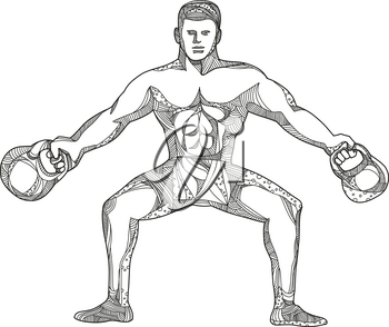 Doodle art illustration of a fitness athlete, strongman or personal trainer lifting two kettlebells viewed from front in black and white done in mandala style.