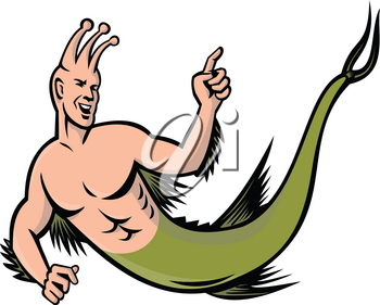 Mascot icon illustration of a sea monkey pointing viewed from side on isolated background in retro style.
