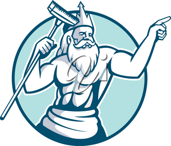 Mascot icon illustration of Neptune, god of the sea in Roman mythology or Poseidon in Greek, holding a pool scrub or brush cleaner pointing set inside oval on isolated background in retro style.