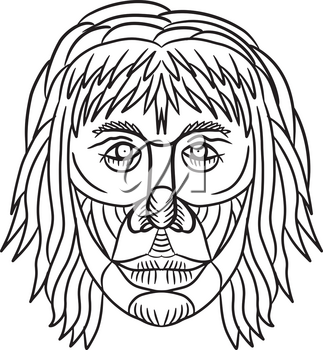 Drawing sketch style illustration of a homo habilis face, one of the earliest members of the genus Homo or early primitive man viewed from front on isolated white background in black and white.