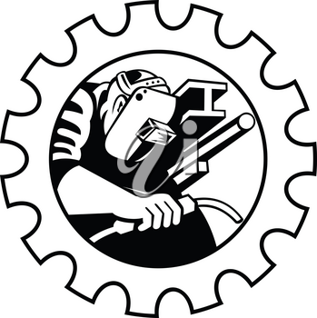 Illustration of a welder fabricator worker welding torch with i-beam pipe and bar set inside gear done in retro Black and White style.