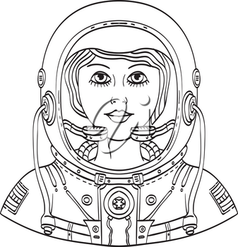 Tattoo style illustration of bust of a female astronaut wearing a space helmet and spacesuit viewed from front done in black and white.