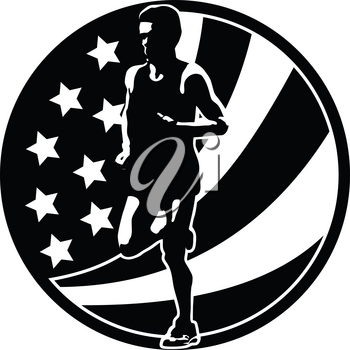 Retro style illustration of a silhouette of an American marathon runner running with USA stars and stripes set in circle viewed from front done in full color.