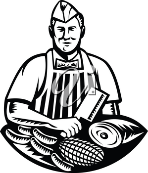 Retro woodcut style illustration of a butcher cutter worker with meat cleaver knife and different cuts of meat and sausages facing front set inside circle on isolated background.