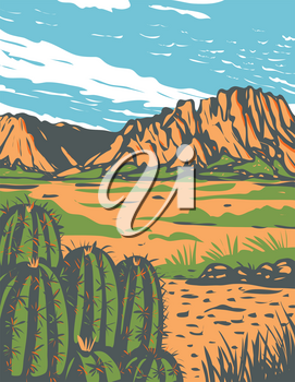 WPA poster art of the Chihuahuan Desert, a desert covering parts of Big Bend National Park in Mexico and southwestern United States done in works project or administration federal art project style.