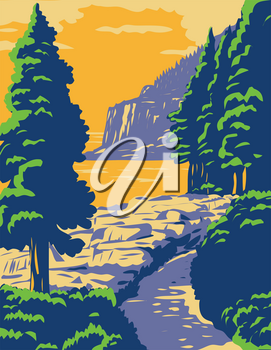 WPA poster art of Ocean Path with the Otter Cliff in Acadia National Park, a recreation area on Mount Desert Island, Maine United States in works project administration or federal art project style.