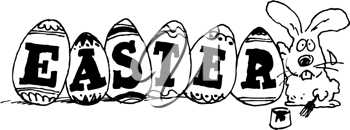 Royalty Free Clipart Image of a Bunny With Easter Painted on Eggs