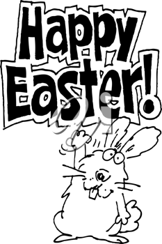 Royalty Free Clipart Image of a Bunny With the Words Happy Easter