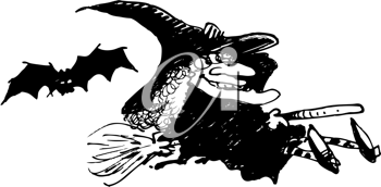 Royalty Free Clipart Image of a Witch and a Bat