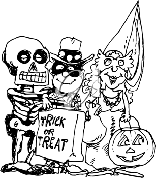 Royalty Free Clipart Image of Trick or Treaters