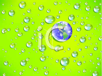 Royalty Free Clipart Image of a Bubble Background With a Globe