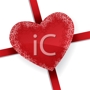 Royalty Free Clipart Image of Heart and Ribbon