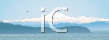Royalty Free Clipart Image of an Ocean and Mountain View