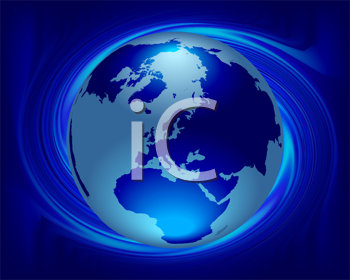 Royalty Free Clipart Image of a World Globe in a Swirling Blue Background