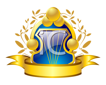 Royalty Free Clipart Image of a Shield and Ribbon