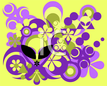 Royalty Free Clipart Image of an Abstract Background With an Alien's Face