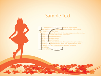 Royalty Free Clipart Image of a Girl Silhouette With Leaves on a Background With Space for Text