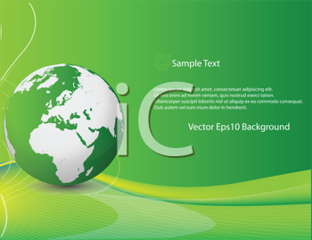 Royalty Free Clipart Image of a Globe on a Green Background