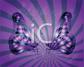 Royalty Free Clipart Image of Purple Butterflies on Purple
