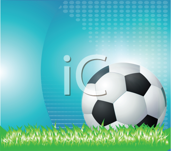 Royalty Free Clipart Image of a Soccer Ball on Grass Against an Abstract Blue Background