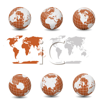 Earth Globes with maps collection vector isolated on white