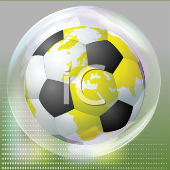 Royalty Free Clipart Image of a Soccer Ball Inside a Bubble