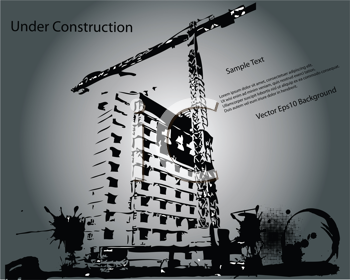 Royalty Free Clipart Image of a Building Under Construction