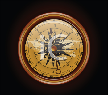 Royalty Free Clipart Image of an Old Compass