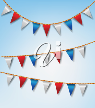 Set of Bunting Flags Red and White