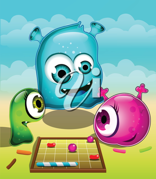 Abstract Illustration of 3 monsters playing a game