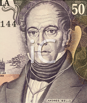 Royalty Free Photo of Andres Bello (1781-1865) on 50 Bolivares 1995 Banknote from Venezuela. Venezuelan  humanist, philosopher, educator, poet, lawmaker and philologist, whose political and literary w