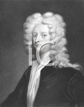 Royalty Free Photo of Joseph Addison (1672-1719) on engraving from the 1800s. English essayist, poet and politician
