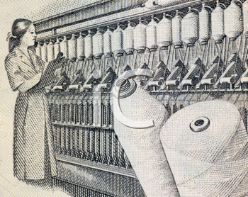 Royalty Free Photo of a Woman Supervising Textile Machine on 100 Intis 1987 Banknote From Peru