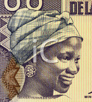 Royalty Free Photo of a Young Woman on 100 Francs 1998 Banknote from Guinea.
