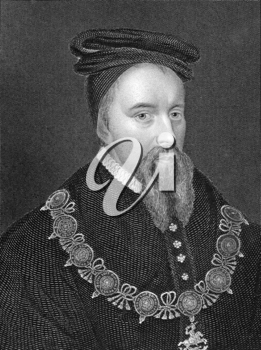 Thomas Stanley, 1st Earl of Derby (1435-1504) on engraving from 1838. Titular King of Mann, English nobleman and stepfather to King Henry VII. Engraved by E.Finden and published by J.Tallis & Co.