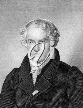 Alexander von Humboldt (1769-1859) on engraving from 1859. Prussian geographer, naturalist and explorer. Engraved by F.Scober and published in Meyers Konversations-Lexikon, Germany,1859.